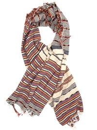 BROWN Moroccan Stripe Tassel Scarf - OneSize