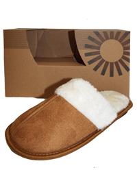 Memory Foam Slippers TAN Open Back Fur Trim Memory Foam Slippers - Size S/M to L/XL