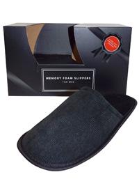 Memory Foam Slippers BLACK Mens Open Back Ribbed Memory Foam Slippers - Size M/L to L/XL
