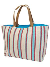 BLUE Striped Leather Handle Canvas Shopper Bag