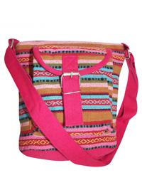 PINK Multi Striped Canvas Across Body Bag