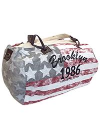 GREY/PLUM Stripes & Stars Canvas Duffle Bag
