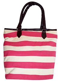 PINK Striped Canvas Shopper Bag