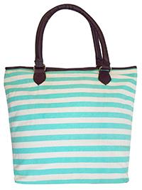 TURQUOISE Striped Canvas Shopper Bag