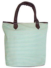 TURQUOISE Fine Striped Shopper Bag