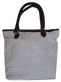 GREY Fine Striped Shopper Bag