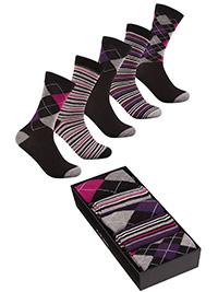 Cottonique PURPLE 5-Pack Cotton Rich Ankle High Socks Gift Set - Shoe Size 4-8