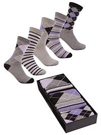 Cottonique GREY 5-Pack Cotton Rich Ankle High Socks Gift Set - Shoe Size 4-8