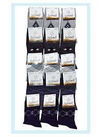 Selimli Mens 12-Pack Mixed Pattern Cotton Rich Ankle High Socks - Size 6.5/11 (EU 40/46)