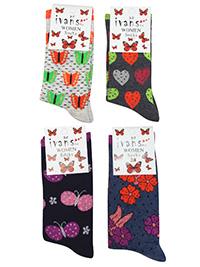 IVANS Ladies 12-Pack Mixed Prints Cotton Rich Ankle High Socks - Size 3/7