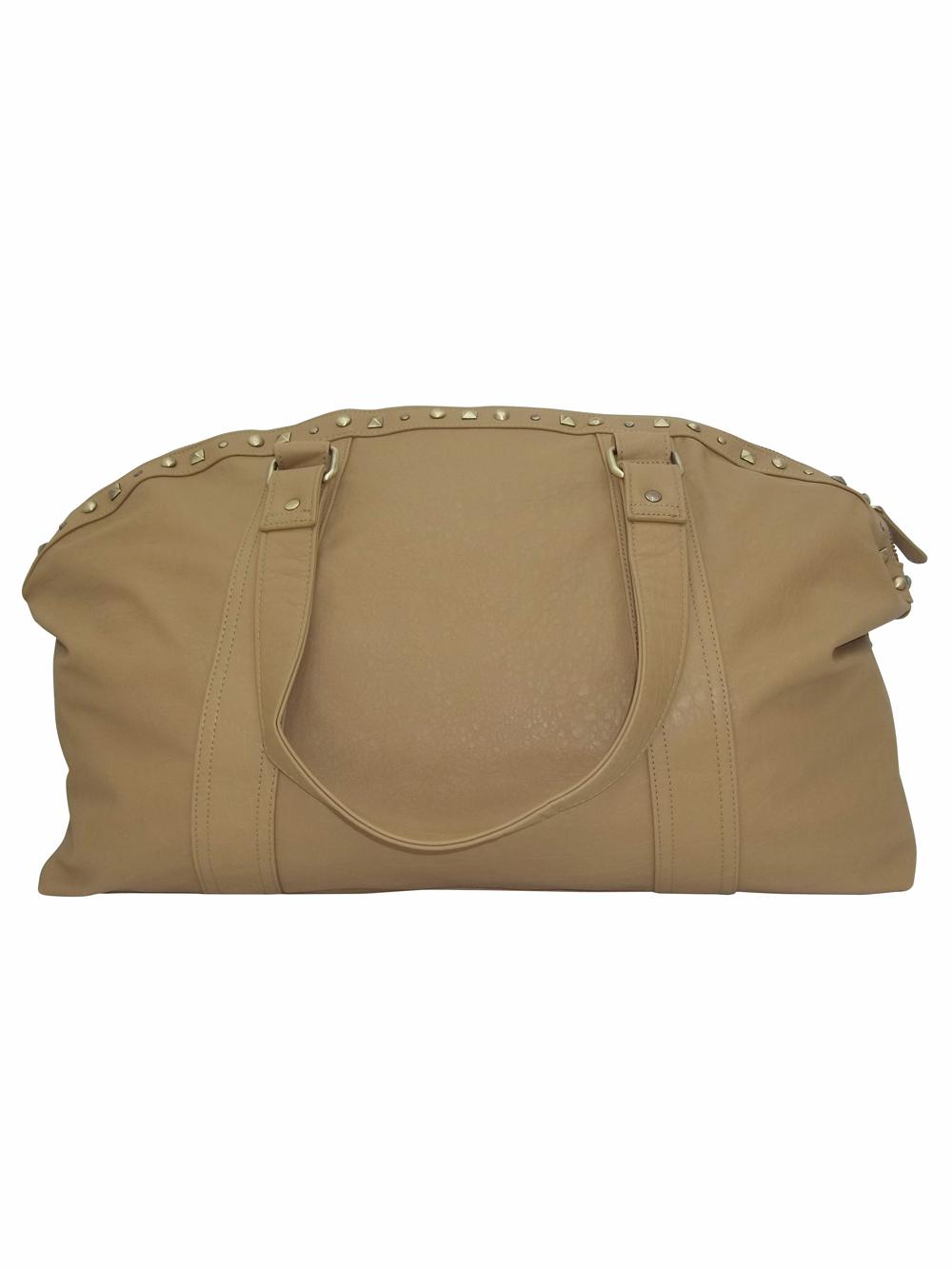 BRAYNA Beige Stud Embellished Holdall Handbag