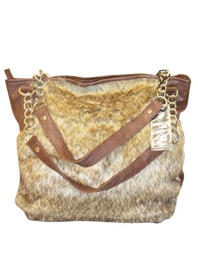 PALOMA Brown Faux Fur Chain Handle Tote Bag