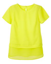 LabelBe Acid Yellow Mock Layer Sheer Hem Tunic Top - Plus Size 18 to 26