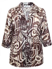 Karida BROWN Notch Lapel Devore Stripe Floral Print Blouse - Plus Size 12 to 26