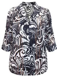 Karida BLACK Devore Burnout Stripe Floral Print Blouse - Plus Size 12 to 26