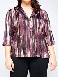 Karida PURPLE Notch Lapel Multi Stripe Blouse - Plus Size 12 to 26
