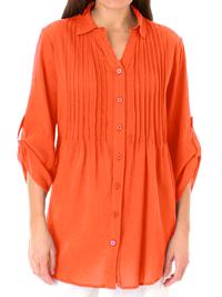 Woman Within ORANGE Pintuck Roll Sleeve Cotton Gauze Shirt - Plus Size 14/16 to 20/22 (Medium to Large)