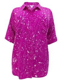 Roamans PINK Splash Print Roll Sleeve Shirt - Plus Size 12 to 32