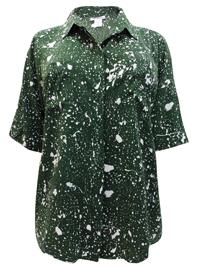 Roamans GREEN Splash Print Roll Sleeve Shirt - Plus Size 12 to 32