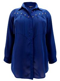 Roamans Denim 24/7 INK-BLUE Stud Embellished Fringe Shirt - Plus Size 12 to 32