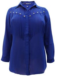 Roamans Denim 24/7 ROYAL-BLUE Stud Embellished Fringe Shirt - Plus Size 12 to 32
