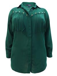 Roamans Denim 24/7 OLIVE Stud Embellished Fringe Shirt - Plus Size 12 to 32