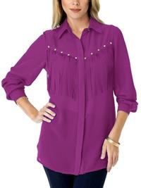Roamans Denim 24/7 WINE Stud Embellished Fringe Shirt - Plus Size 12 to 32