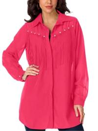Roamans Denim 24/7 FUCHSIA Stud Embellished Fringe Shirt - Plus Size 12 to 32