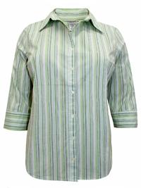 Fashion Bug GREEN Cotton Rich Striped Shirt - Plus Size 14/16 to 30/32