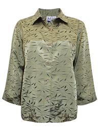 JM Collection GREEN Satin Jacquard Leaf Print Shirt - Plus Size 14/16 to 26/28 (Medium to 3X)