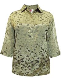 JM Collection SAGE Satin Jacquard Floral Print Shirt - Plus Size 20 to 26 (18W to 24W)