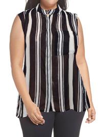 VRS Woman BLACK Sleeveless Striped Dipped Hem Shirt - Size 12 to 22 (Small to XXLarge)