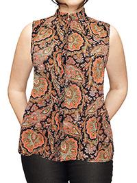VRS Woman ORANGE Sleeveless Paisley Print Dipped Hem Shirt - Plus Size 18 to 24 (46 to 52)