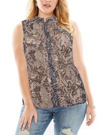 VRS Woman BLACK Sleeveless Faux Snake Print Dipped Hem Shirt - Plus Size 14 to 26