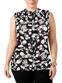 VRS Woman BLACK Sleeveless Wild Flower Print Dipped Hem Shirt - Plus Size 14 to 20 (Medium to XLarge)