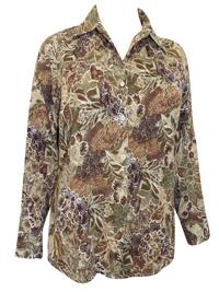 Studio Works KHAKI Foliage Print Roll Sleeve Shirt - Plus Size 18/20 to 26/28 (1X to 3X)