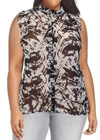 VRS Woman BLACK Sleeveless Printed Dipped Hem Shirt - Plus Size 12 to 20 (Small to XLarge)