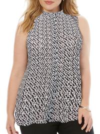 VRS Woman BLACK Sleeveless Printed Dipped Hem Shirt - Plus Size 14 to 26