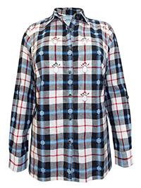 Liz&Me BLACK Pure Cotton Festive Print Checked Shirt - Plus Size 16/18 to 40 (0X to 6X)
