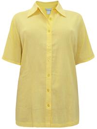 Liz&Me YELLOW Crinkle Cotton Short Sleeve Blouse - Plus Size 24/26 (2X)