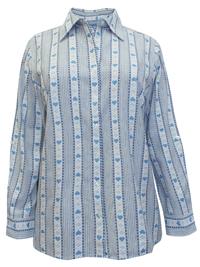 Liz&Me BLUE Pure Cotton Heart Print Striped Shirt - Plus Size 20/22 to 32/34 (1X to 4X)