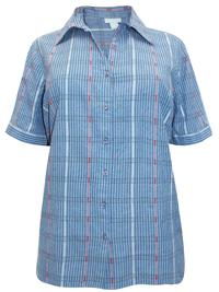Liz&Me BLUE Pure Cotton Combination Striped Shirt - Plus Size 16/18 to 28/30 (0X to 3X)