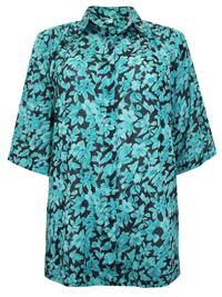 DW Shop BLACK Floral Print 3/4 Sleeve Shirt - Plus Size 10 to 30/32 (36 to 56/58)