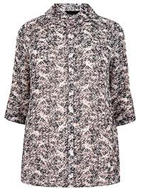 Y0URS MULTI Printed Roll Sleeve Chiffon Shirt - Plus Size 16 to 34/36