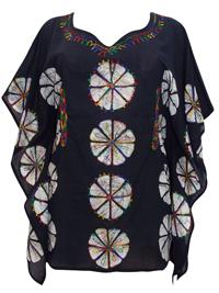 eaonplus Black/White Tie-Dye Batik Print Kaftan Tunic Top - Plus Size 16 to 20