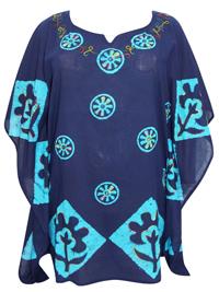 eaonplus Turq/Navy Tie-Dye Batik Print Kaftan Tunic Top - Plus Size 16 to 20