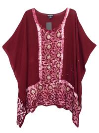 eaonplus WINE Embroidered Batik Print Kaftan Tunic Top - Plus Size 16 to 34