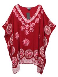 eaonplus Dark RED Embroidered V-Neck Batik Print Kaftan Tunic Top - Plus Size 16 to 34