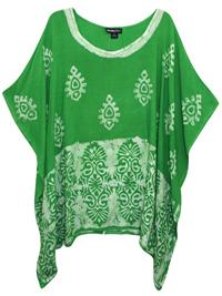 eaonplus LIGHT-GREEN Contrast Batik Print Kaftan Tunic Top - Plus Size 16 to 34