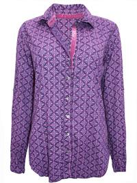 CINO PURPLE Boysenberry Diamonds Crinkle Cotton Shirt - Size 10 to 12 (XSmall to Small)